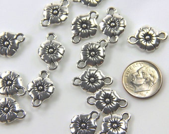 TierraCast Connectors, Flower Link, Connector, Leather Findings, Jewelry Findings, Antiqued Silver Plated Lead Free Pewter, 4 Pieces, 3212