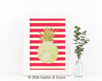 Pink Stripe Pineapple Art, Pineapple sign, Be a Pineapple sign, Light Pink art, Printable art, Office Printable, Instant Download