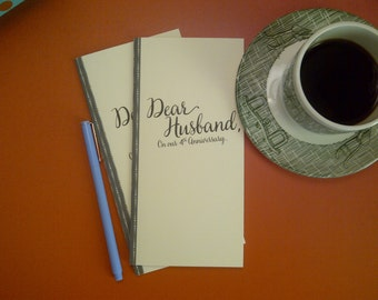 4th Anniversary // Dear Husband On Our 4th Anniversary Journal // Staple Bound Journal