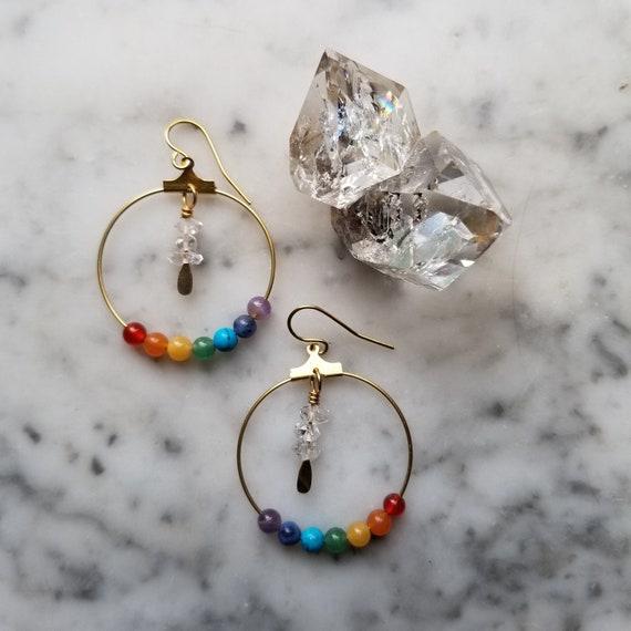 Brass chakra hoops with herkimer diamonds