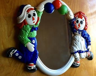 Vintage Raggedy Ann and Andy Mirror, Kids Room Decor, Retro Home Decor, Children's Bedroom, Vintage Mirrors, Collectible Mirrors