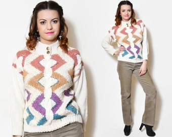 80s beige sweaters rainbow pullover cable knit pattern cream women norway woman norwegian ethnic sweater folk vintage cowboy woman cowgirl