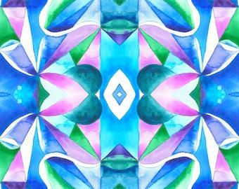 Symmetrical Patterns Watercolor Print