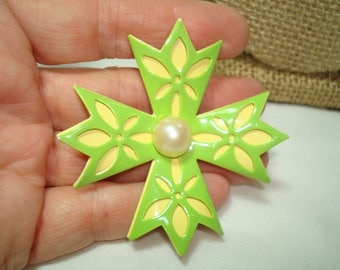 Large Vintage Chartreuse and Yellow Flower Pin.