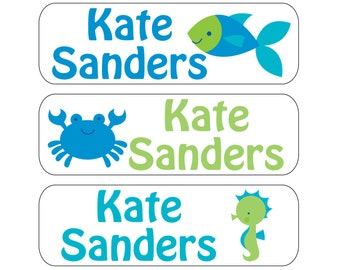 100 Blue Sea Waterproof Kid's Pacifier (or baby food) Labels - Dishwasher Safe - Also great for sippy cups, bottles, jars Paci-007