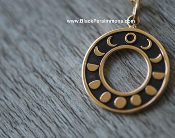 Moon Phases Necklace - Solid Natural Bronze Charm - Insurance Included