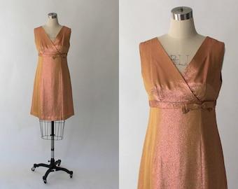 SALE // 1960s Lurex Mini Dress // 60s Vintage Short Empire Waist Metallic Formal Party Dress // Small - Medium