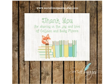 Personalized THANK YOU cards\\ Baby Shower Book Theme\\Stationery Cards