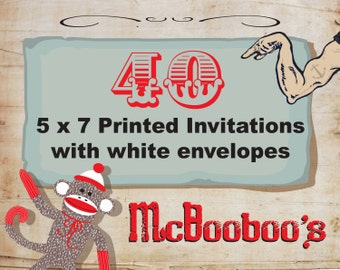 "40 high quality 110lb weight 5"" x 7"" invitations with standard white envelopes."