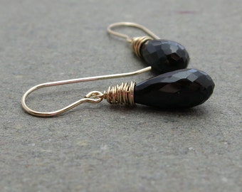 Black Spinel Earrings Gold Gemstones Simple Minimalist Jewelry Gift for Her
