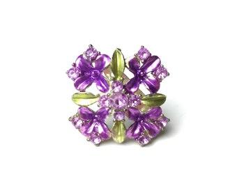 Broche art nouveau, plique un jour, broche violet, broche florale, broche fleur broche des années 1930, des années 30 broche plique du jour, des bijoux de style art nouveau
