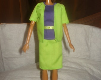 3-piece business suit with belt in lime green & purple for Fashion Dolls - ed545