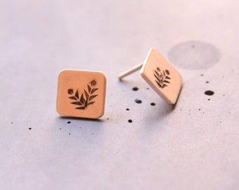 Flower and Leaf Earstud, Sterling Silver Square Earstuds, Minimalist silver earstuds