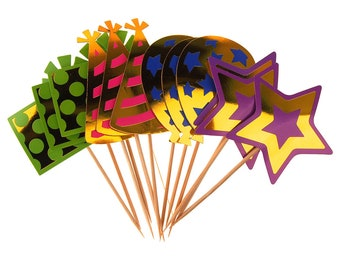 Paper Cupcake Toppers 4 Styles, 5-1/2-Inch, 12-Piece