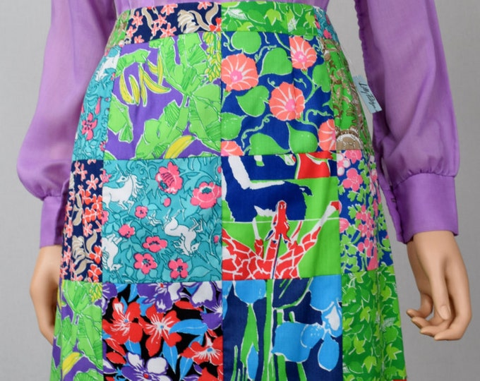 Nos Vintage 1960's LILLY PULITZER Animal Print Patterned Giraffe Turtle Flower UNICORN PaTcHwoRk Skirt Size S - New With Tags