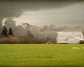 White Barn Photograph,landscape storm photography, country farm wall art, rustic, green woodland