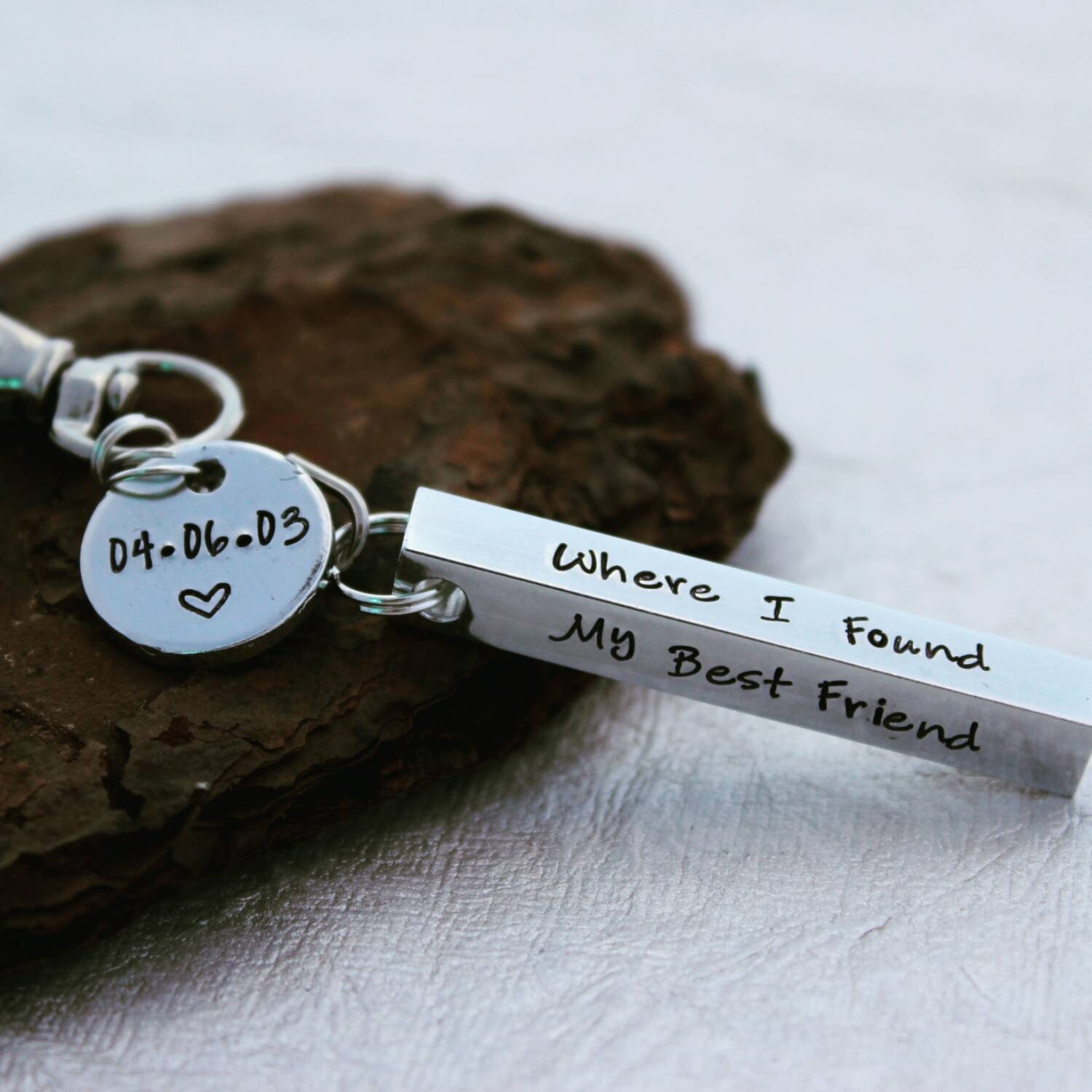 Coordinate Keychain - Where I Found my Best Friend - Keychain Bar - Anniversary Gift - Men's Keychain - Gifts for Him - Best Friends Gift
