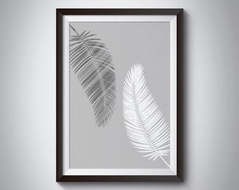 Grey Palm Leaves Print - Tropical leaves Print, Leaf Wall Art, Monogram Print, grey prints, grey wall art, grey decor, grey poster