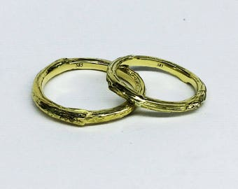 K14 gold twig rings, gold wedding rings,branch tree bark rings - gold twig wedding band rings - gold wedding rings -K14 gold ring set of 2