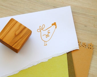 Curly-Wurly Chicken Olive Wood Stamp