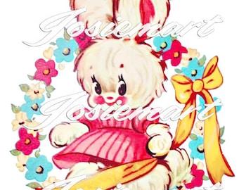 Vintage Digital Download Girl Bunny with Pink Dress Vintage Image Collage Large JPG