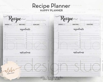 Recipe Planner, Happy Planner, Printable Printable, Recipe Book, Recipe Journal, Recipe Binder, Recipe Cards, MAMBI, Printable Recipe