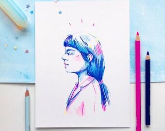 Original Art - Colored Pencil Girl