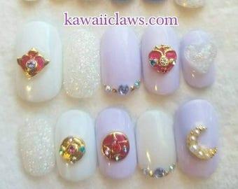 Lavender Sailor Moon Magical Girl Glitter Gel Nail Art Press on false fake nails