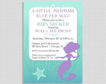 Mermaid Baby Shower Invitation, Little Mermaid Baby Girl Shower, Purple, Aqua, DIY PRINTABLE