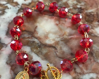 Rosary Bracelet Red Crystal Miraculous Medal Gift For Her Catholic Gift