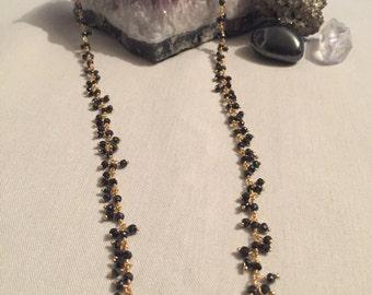 Black Spinel Sparkly Gold Necklace