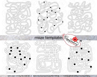 Maze Template Clipart SET: (300 dpi) School Teacher Clip Art Puzzle Game
