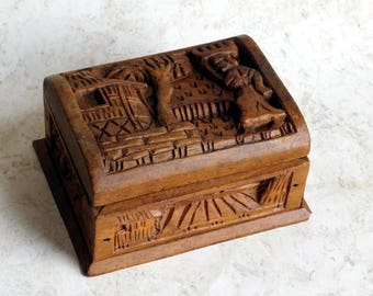Vintage to Antique Relief-Carved Wooden Trinket Box Probably from Honduras - Hand-Carved Village Scenes - Rustic Primitive Hand Crafted