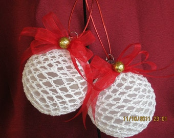 Set of Crochet frosted glass ball with red ribbon and gold bead