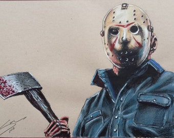Jason on tanned Strathmore paper, Friday the 13th