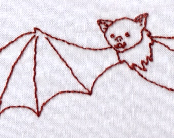 Bat Hand Embroidery Pattern, Halloween, Vampire, Flying, Bat, Cute, PDF