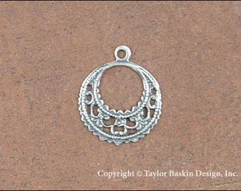 Victorian Filigree Pendant, Angel Pin Halo or Earring Drop in Antiqued Silver Plate (item 312-small AS) - 6 Pieces