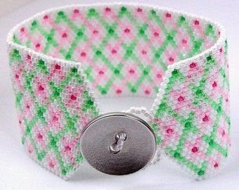 Watermelon Plaid - Cuff Style Bracelet