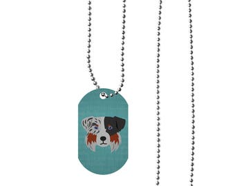 Adorable Australian Shepherd Inspired Double Sided Aluminum Dog Tag & Chain! Silver or White
