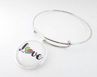 Autism awareness bracelet - autism puzzle piece heart - autism charm bracelet - love bracelet - I love someone with Autism