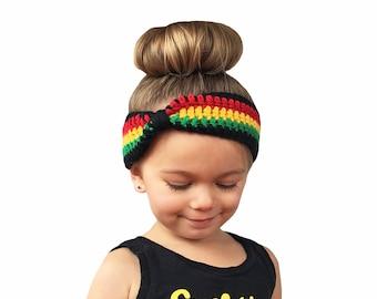 Rasta Headband, Baby Headband, Crochet Baby Headband, Rasta Turban