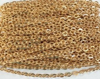 15 pieds de plaqué or câble plat chaîne 2X3mm dessoudé, chaîne en or