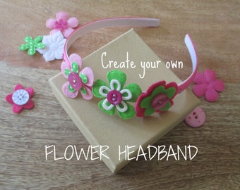 Felt Flower Headbands, DIY Party Craft, Party Supplies