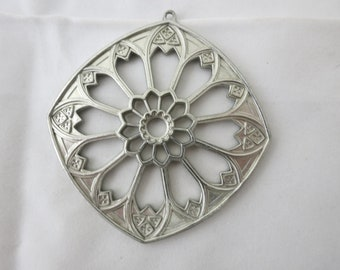 Vintage 1976 Kirk Pewter Rose Window Bourges Cathedral Ornament Pendant