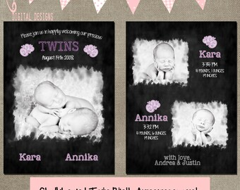 twin birth announcements chalkboard card template 5x7 front and back psd layered INSTANT DOWNLOAD