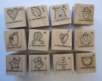 rubber stamp set - Stampin Up LITTLE SOMETHINGS - 1998, 12 rubber stamps, used rubber stamps, mini stamps for calendars