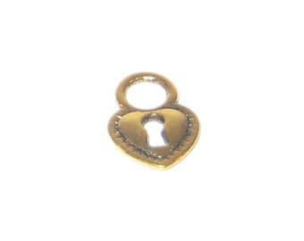 12 x 16mm Gold Heart Lock Charm - 8 charms