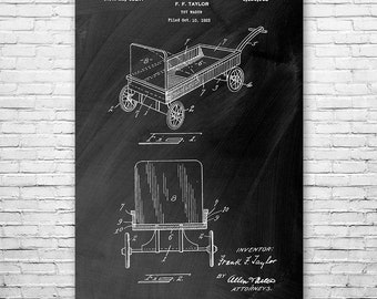 Toy Pull Wagon Poster Art Print, Wagon Wall Art, Red Wagon, Toy Wagon, Toy Gift, Vintage Wagon, Patent Art, Patent Print, Patent Poster