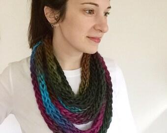 Rainbow knit scarf, rainbow knit cowl, rainbow rope scarf, knit rope necklace, knit chain scarf, rainbow chain scarf, knit chunky cowl