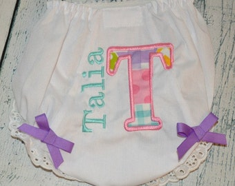 Applique Personalized Bloomer, Diaper Cover Initial and Name